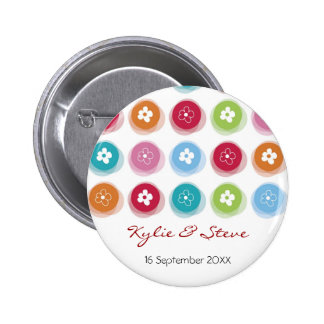 Daisy Fuzzy Colour Dots Name Tag / Gift / Favour / 2 Inch Round Button