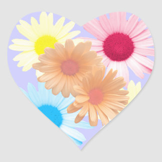 Daisy Garden Heart Shaped Envelope Seals Heart Sticker