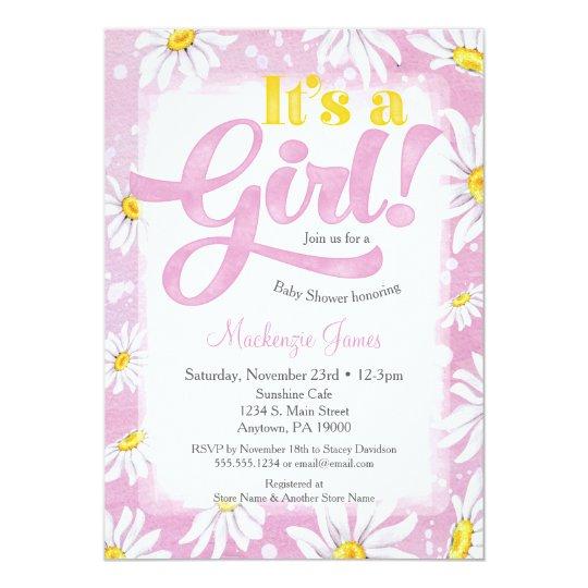 Daisy Girl Baby Shower Invitation Pink Yellow