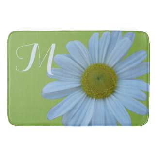 Daisy Greenery Floral Bath Decor Modern Country Bathroom Mat