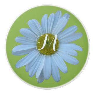 Daisy Greenery Floral Theme Optional Monogram Ceramic Knob