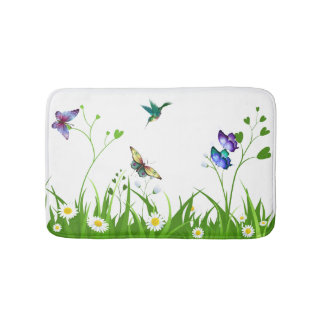 Daisy Hearts Butterflies Bathroom Mat