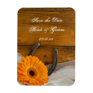 Daisy Horseshoe Country Barn Wedding Save the Date Magnet