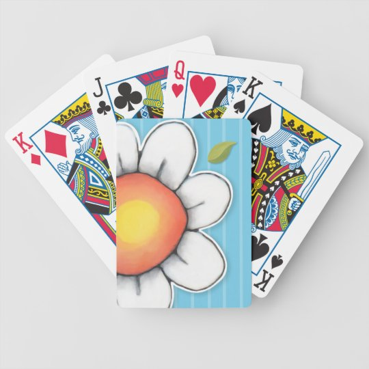 Daisy Joy blue stripes Bicycle® Playing Cards