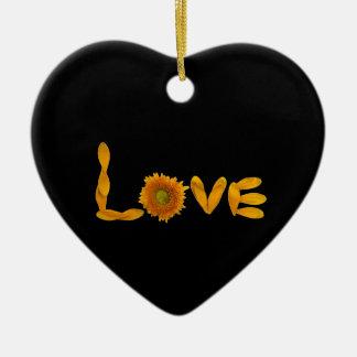 Daisy Love Ceramic Heart Ornament
