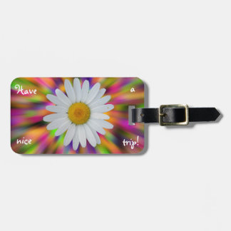 Daisy Luggage Tag with Leather Strap
