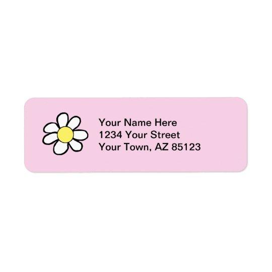 Daisy on a Pink Background Return Address Label