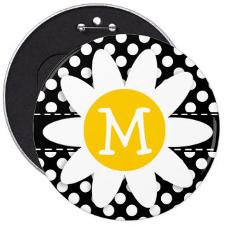Daisy on Black and White Polka Dots Pin