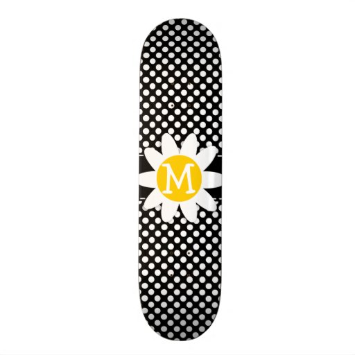 Daisy on Black and White Polka Dots Skate Board Deck