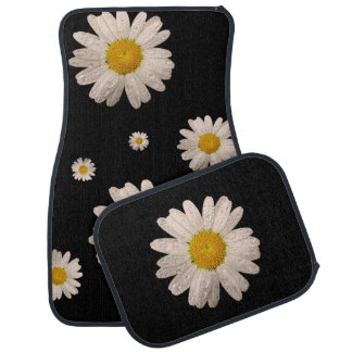 Daisy on Black Car Mats (multiple) Car Floor Carpet