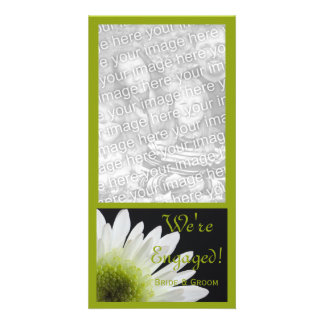 Daisy on Black Marriage Engagement Announcement Card