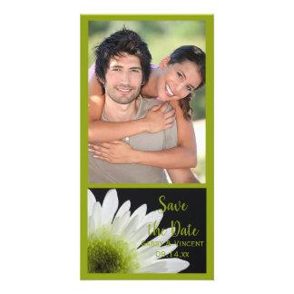 Daisy on Black Wedding Save the Date Photo Card