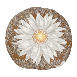 Daisy on Brown Daisy background Pouf