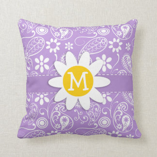 Daisy on Lavender, Light Purple Paisley Pattern Throw Pillows
