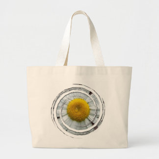 Daisy on Pink Background; No Text Large Tote Bag