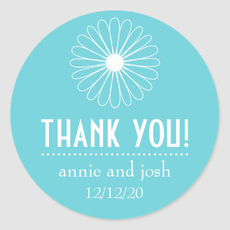 Daisy Outline Thank You Labels (Teal) Round Sticker