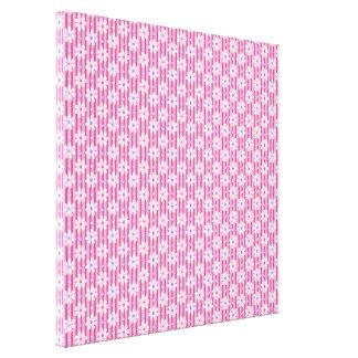 Daisy Pattern on Pink Stripes Canvas Print