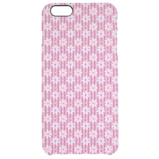 Daisy Pattern on Pink Stripes Clear iPhone 6 Plus Case