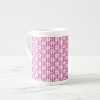 Daisy Pattern on Pink Stripes Tea Cup