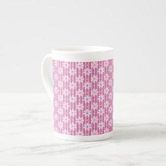 Daisy Pattern on Pink Stripes Bone China Mug