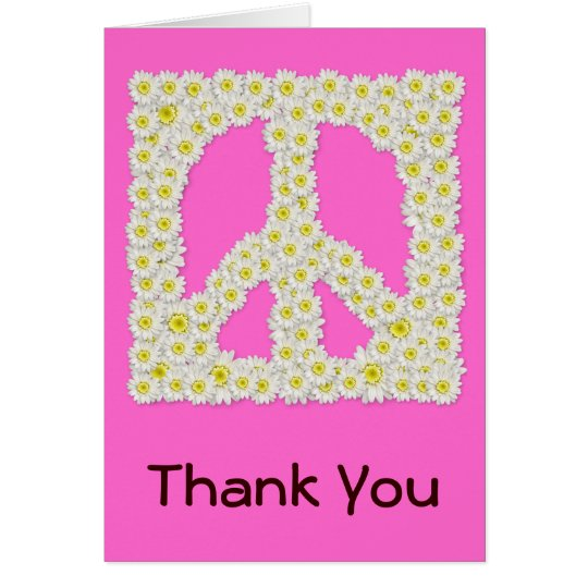 Daisy Peace Sign Thank You Note Card