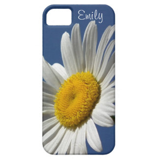 Daisy personalized phone case on blue background