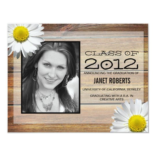 Daisy Photo Graduation Invitation
