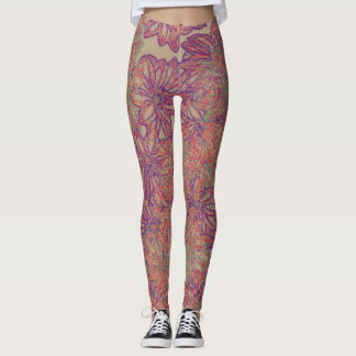 Daisy print tattoo leggings