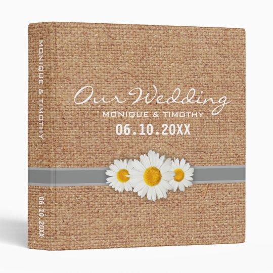 Daisy Ribbon Burlap - Yellow Grey & White Wedding Vinyl Binder