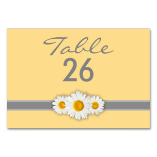 Daisy Ribbon - Yellow Gray & White Table Number