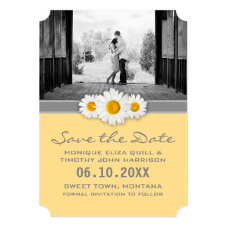 "Daisy Ribbon - Yellow Grey & White Save the Date 5"" X 7"" Invitation Card"