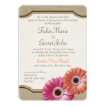 "Daisy Rustic Burlap Coral and Pink 5"" X 7"" Invitation Card"