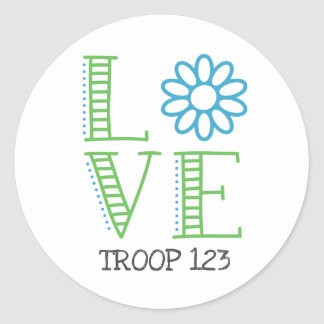 Daisy Scout Love Troop Number Classic Round Sticker