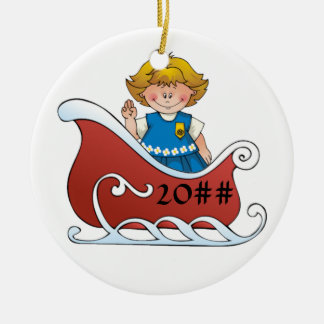 Daisy Scout Sled Blonde Ceramic Ornament