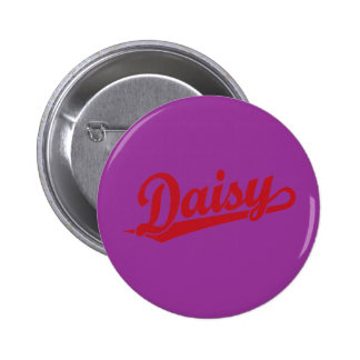 Daisy Script Logo in Red Pinback Buttons