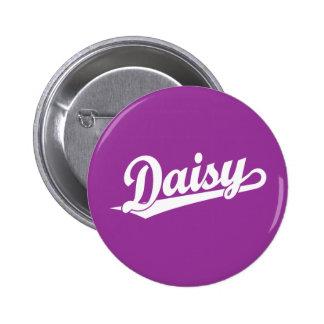 Daisy Script Logo in White Pinback Button