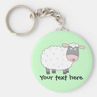 Daisy Sheep Basic Round Button Keychain