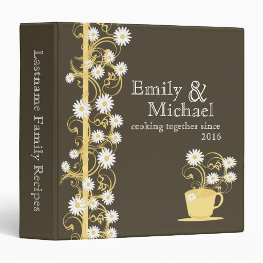 Daisy Tea Party Recipe Collection Brown and Yellow Vinyl Binder