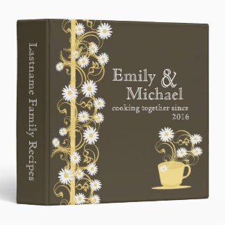 Daisy Tea Party Recipe Collection Brown and Yellow Vinyl Binders