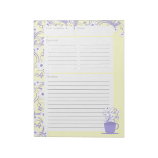 Daisy Tea Party Recipe Pages Notepad