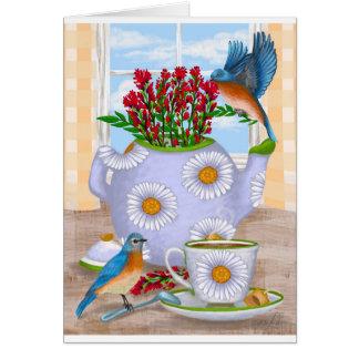 Daisy Teapot Blank Greeting Card
