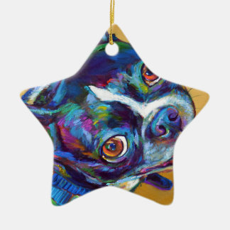 Daisy the Boston Terrier by Robert Phelps Ceramic Ornament