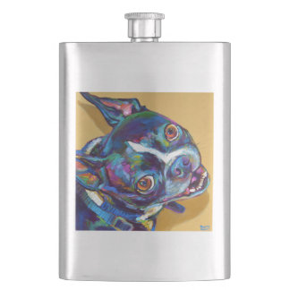 Daisy the Boston Terrier by Robert Phelps Flasks