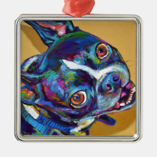 Daisy the Boston Terrier by Robert Phelps Metal Ornament