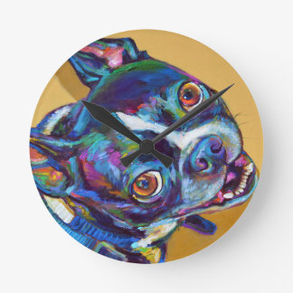 Daisy the Boston Terrier by Robert Phelps Round Clock