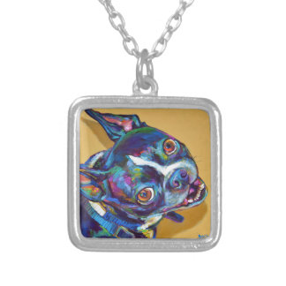 Daisy the Boston Terrier by Robert Phelps Silver Plated Necklace