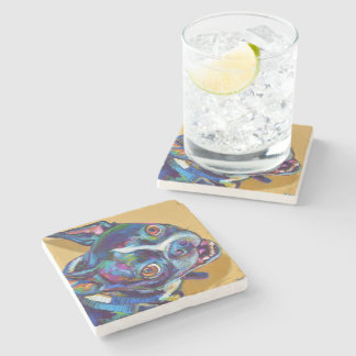 Daisy the Boston Terrier by Robert Phelps Stone Beverage Coaster