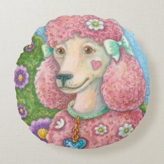 DAISY The Pink Poodle ROUND PILLOW