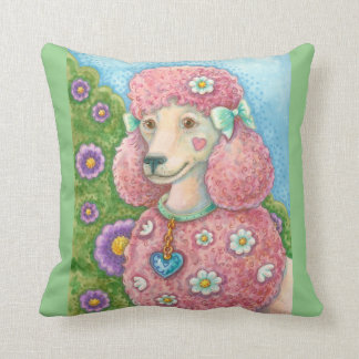 DAISY The Pink Poodle THROW PILLOW Border
