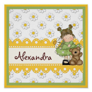 Daisy Toddler and Teddy Customizable Child's Print